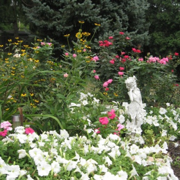 White Flowers and Statuary